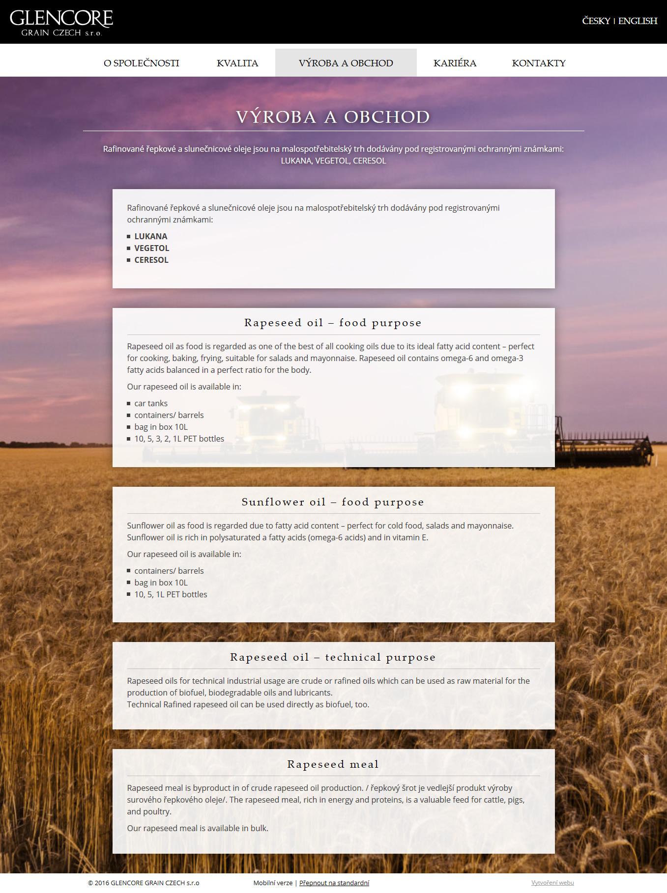 Výrobce rostlinných olejů Lukana, Ceresol a Vegetol