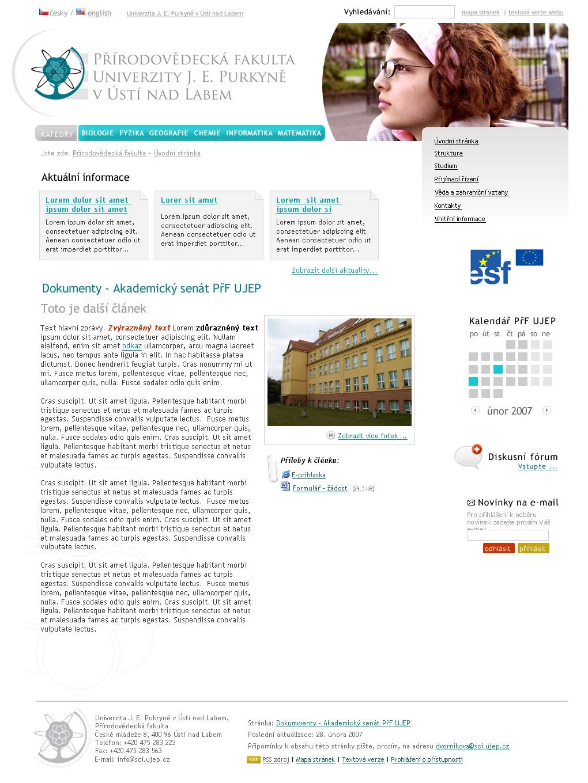 Oficiální webové stránky Přírodovědecké fakulty Univerzity J. E. Purkyně